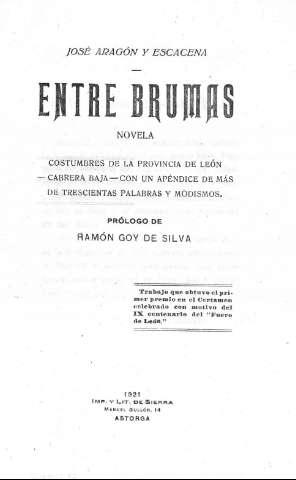 Entre brumas. Novela de costumbres, Cabrera Baja