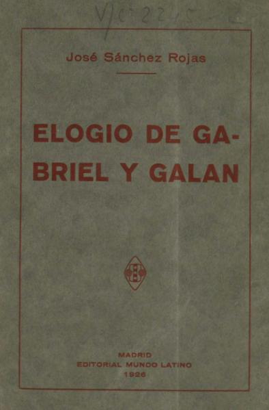 Elogio de José María Gabriel y Galán