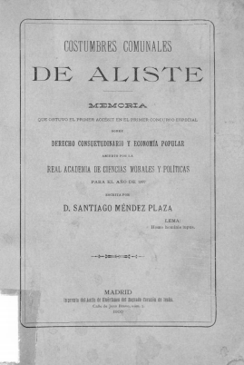 Costumbres comunales de Aliste