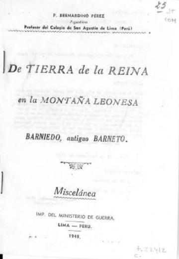 De Tierra de la Reina en la montaña leonesa: Barniedo, antiguo Barneto: miscelánea