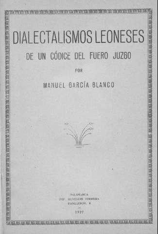 Dialectalismos leoneses de un códice del Fuero Juzgo
