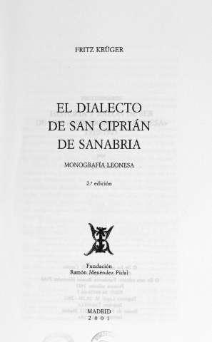 El dialecto de San Ciprián de Sanabria: monografía leonesa