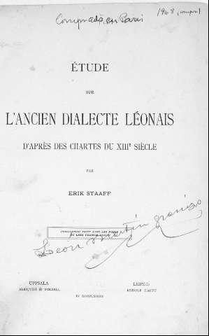 Étude sur l'ancien dialecte léonais d'après des chartes du XIIIe siècle