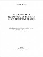 Vocabulario del Concejo de La Lomba en las montañas de León