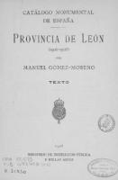 Catálogo monumental de España . Provincia de León: (1906-1908)