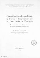 Contribución al estudio de la flora y vegetación de la provincia de Zamora: plantas de Sierra Segundera, La Puebla de Sanabria, Calabor, etc.